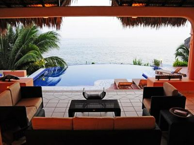 Photo for Luxurious Oceanfront Villa - Steps from Manzanillo Beach - Best View in Puerto