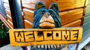 Wally the Welcome Bear welcomes you to Be-at-Ease Cabin...