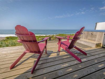 Photo for Ocean Front views, Two Master Suites, Hot Tub, Fire Pit, Gas BBQ