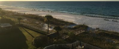 View from the balcony, looking East over the property and beach
