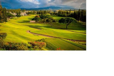 Looking down the fairway of Kapalua Bay Course - to the villa