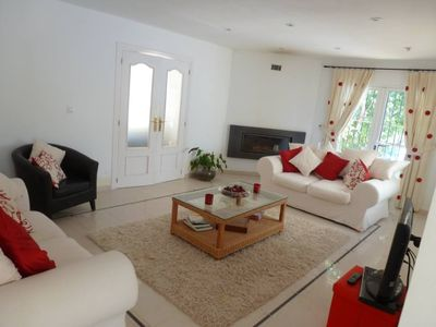 Photo for SPACIOUS DETACHED VILLA, PRIVATE POOL, A/C IN ALL BEDROOMS, 6 MIN DRIVE BEACH