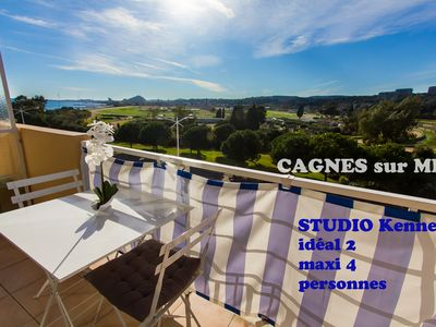 Photo for BALCONY AIR-CONDITIONED STUDIO exceptional sea / racetrack view 50 m from the beaches