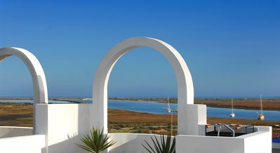 stunning view  of the Ria Formosa and the sea from the private terrace.