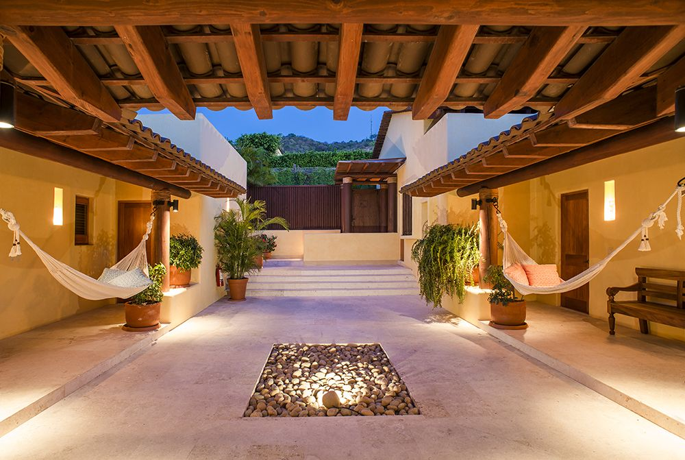 entrance of the villa hammocks set the ambience