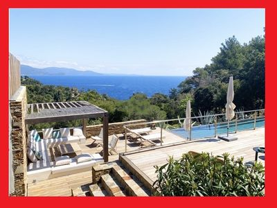 Photo for Cap Bénat: superb air-conditioned villa with swimming pool and sea view