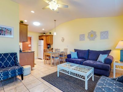 Photo for Duplex villa w/ shared heated pool & patio - one block to the beach!