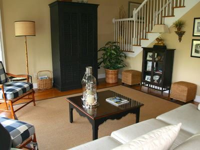 This home has gorgeous furnishings. There is a large HDTV in the armoire.