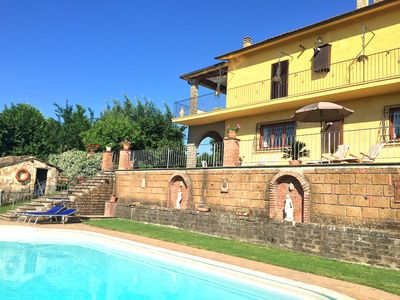 Photo for Lovely spacious villa with large pool and panoramic views near Rome/Viterbo