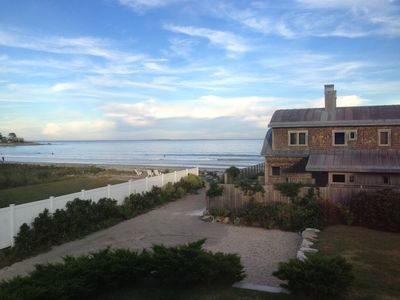 View from Master Bedroom and path to Jenness Beach. Isle of Shoals in distance.