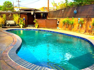 Photo for Secluded pool and spa in your private Oasis, 5 min to Beach/Lax.