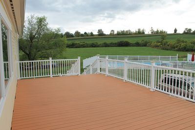 Deck off game room overlooks private 20'x40' pool