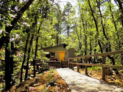 Photo for BEAUTIFUL Wooded Home Near Downtown! Gas Firepit! Nature Lovers Getaway!