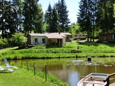 Photo for Holiday home in Thuringia, next to an idyllic water lily pond with fireplace