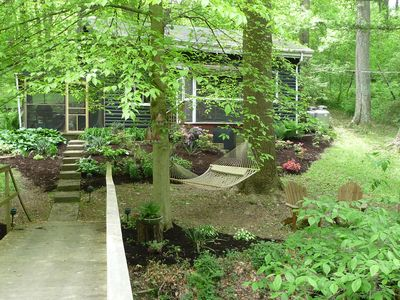 Wrightsville Cabin near Lancaster, PA.  Enjoy the creek from one of the 2 porch.