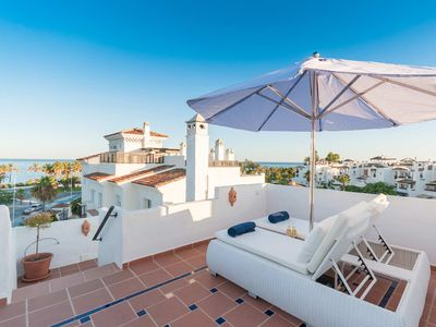Photo for 4 bed luxury penthouse frontline beach with incredible sea views, sleeps 8