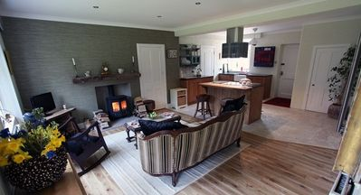 Relax by the wood burning stove.