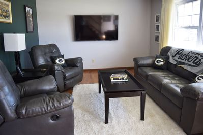 Living room, brand new leather furniture.