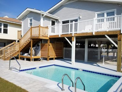Photo for Waterfront 4 BR house w/pool & dock.  Just steps to the beach.  Pet Friendly.