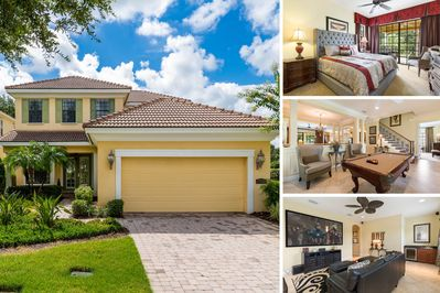 Experience Radiant Bliss on your next vacation, a luxury 5 bedroom home with a movie room and game room that overlooks the Tom Watson Golf Course