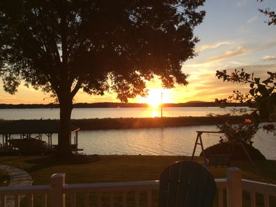 Photo for Gorgeous Lakefront home w/dock & Sunset views to die for!  Book now for 2019!