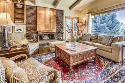 Main-Upper Level-Living Area with great views, deck and fireplace