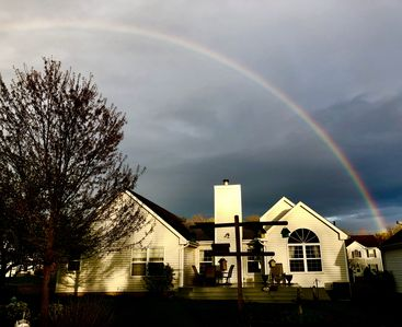 Lucky you! You get to stay here, somewhere over the rainbow.