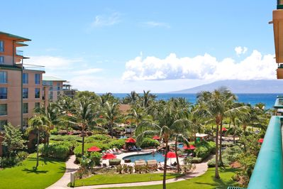 Gorgeous view from balcony over resort and ocean