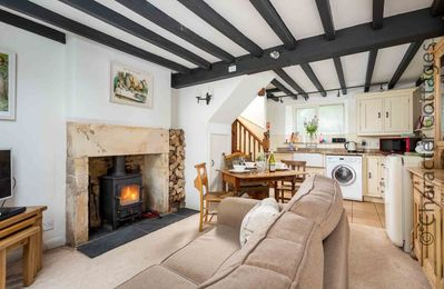 The quaint and cosy open plan living space...