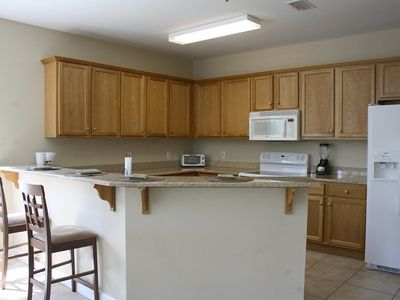 Fully equipped kitchen with full size appliances. Typical 3 BR unit