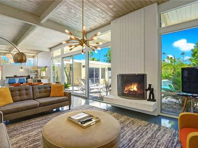 """Photo for MidCentury Modern Pool Home in Twin Palms area. """"Living Retro"""" Cover Home"""