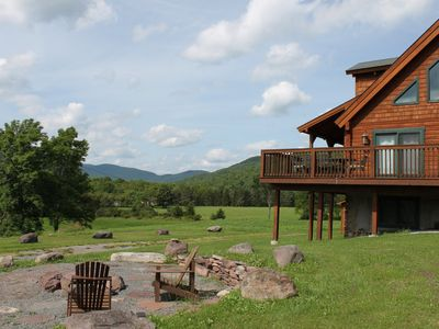 Photo for Luxury Log With Spectacular Views, Fire Pit, Clawfoot Tub In The Master