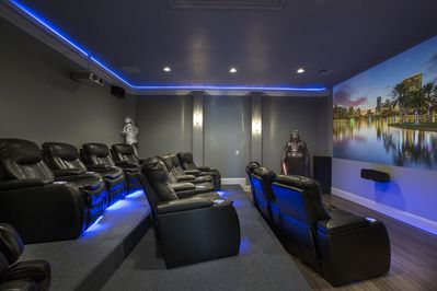Movie room with recliner leather seats