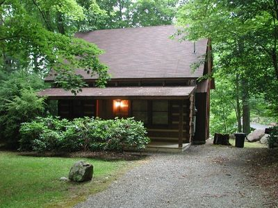 Front view of your cabin as you arrive at your creekside vacation. Welcome!
