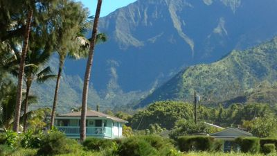 Na Hoku as seen from the sands of Hanalei Bay.