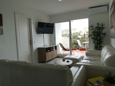 Photo for Beautiful luxurious apartment with large terrace overlooking the sea and 300 m from the sea.