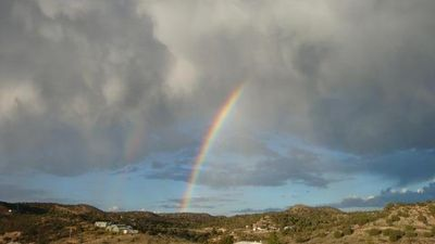 View of rainbow in the front of the house