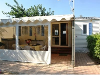 Photo for Mobile home 6-7 pers, 3 bedrooms, air conditioning, Valras beach Camping Lou village 4 *