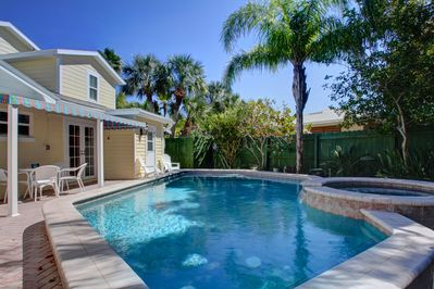 Fenced-in backyard with pool/spa & secluded patio