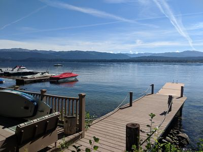 Photo for Lakefront cabin with private beach and dock, short drive to town, ski resort!