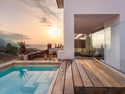 Photo for Private heated plunge Pool, ocean & volcano views, wifi [apt C]