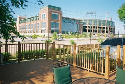 Deck located above garage facing south with view of Lambeau wired for cable