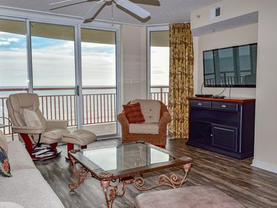 Photo for $300 OFF JULY 27 WEEK! 4 bedroom, 3 bath oceanfront condo. Sleeps 8. WIFI. Washer/dryer. Indoor pool, outdoor pool, lazy river, jacuzzi, fitness room. No pets.  No smoking.