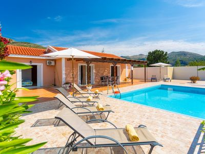 Photo for Villa Peach: Large Private Pool, Walk to Beach, Sea Views, A/C, WiFi, Car Not Required