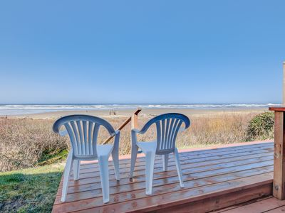 Photo for Oceanfront Three-Bedroom has Beach Access, Panoramic Views and Deck for Coffee a