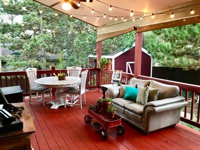 Outdoor living room w/ dining table, smart TV, Xbox, Wii