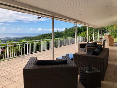Photo for Pamatai Villa - Faa'a Tahiti - sea view pool & garden - 4 bedr up to 6 pers