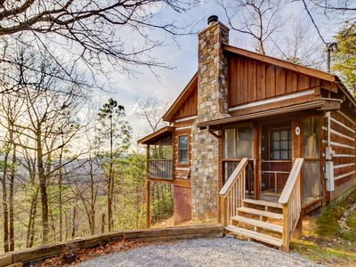 Photo for Adorable mountain view cabin in the woods w/ deck, hot tub, shared seasonal pool