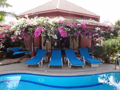 """Photo for BEAUTIFUL VILLA WITH SWIMMING POOL, RESIDENCE """"SAFARI VILLAGE"""" WITH PRIVATE BEACH 100M"""