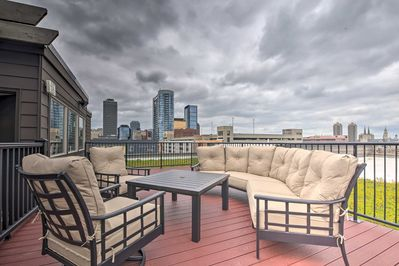 Unwind on the spacious rooftop patio and enjoy the city views!